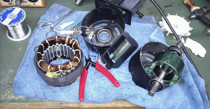 Разобранный мотор вентилятора двигателя