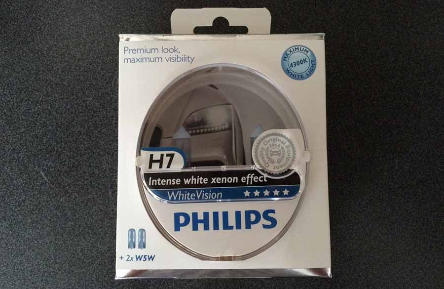 Philips White Vision Set 12972WH лучшие лампы H7 ближнего света