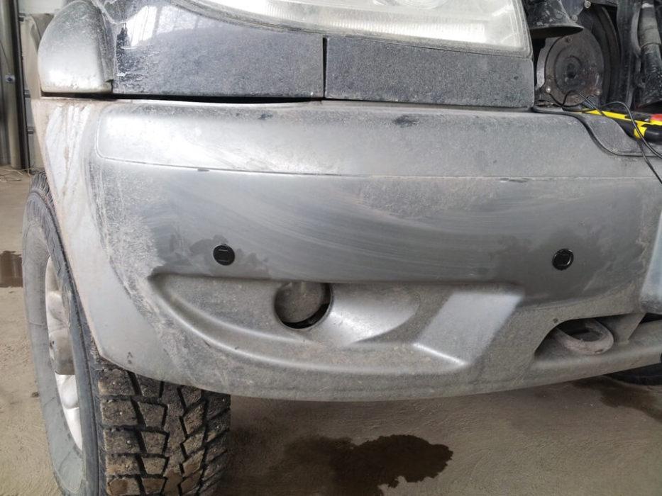 Установка парктроников на передний бампер для УАЗ Patriot