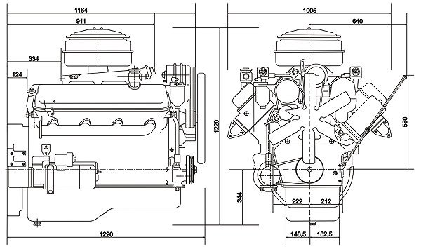 ЯМЗ 238М2 габариты, чертеж двигателя ЯМЗ 238М2