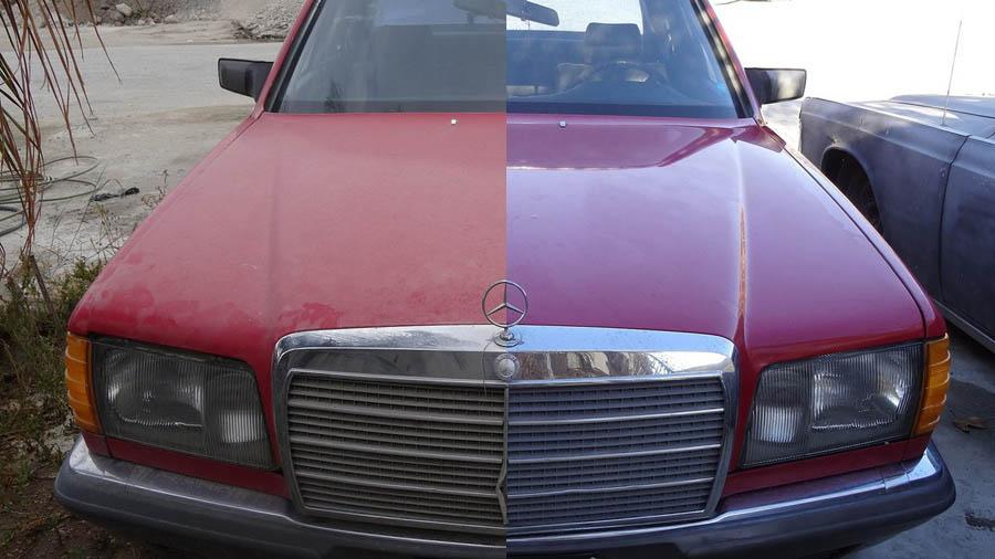 Покрытый кузов автомобиля жидким стеклом результат до и после